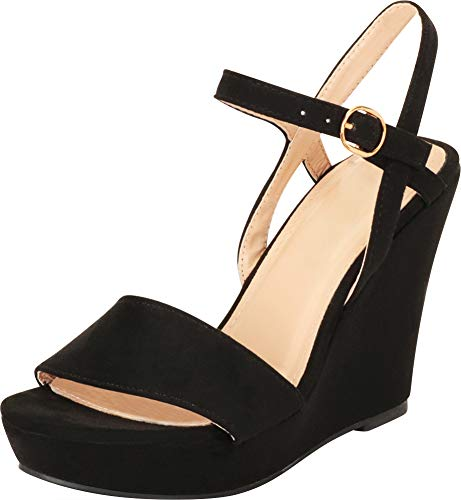 (Cambridge Select Women's Open Toe Single Band Buckle Ankle Strappy Platform Wedge Sandal (9 B(M) US, Black))