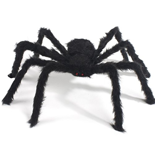 - Kicpot Halloween Decorations 30 Inch Giant Spider, Halloween Huge Black Spider and Plush Scary Spider Toys for Patio Big Spiderweb Halloween Party Decorations