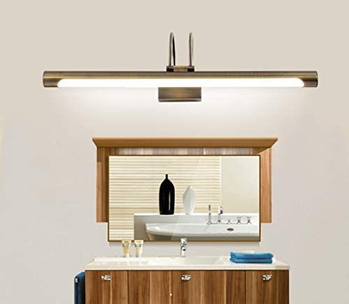 -badezimmerlampe Spiegel Frontleuchte Retro Europäisches Spiegel-Licht Badezimmer Spiegelschrank-Lampe Wasserdichte LED-Make-up Licht Bronze Bronze Badleuchte (Color : Warm)