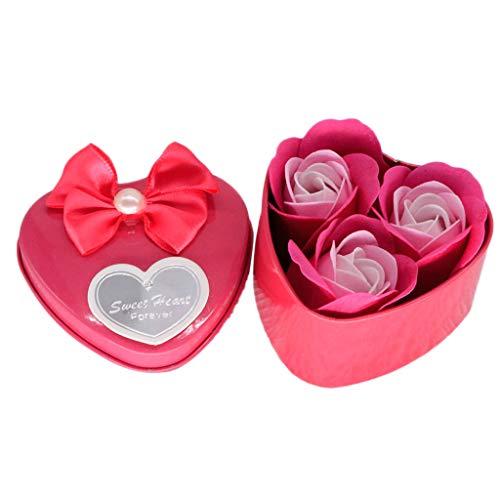 Matoen Valentine's Day Birthday Simulation Rose Soap Flower Heart Scented Bath Body Petal Rose Flower Soap Wedding Decoration Gift Best Iron Gift Box Wedding 3PC (Hot Pink)