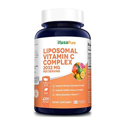 Liposomal Vitamin C 2032mg - 200 Veggie Capsules with BioPerine - High Absorption Ascorbic Acid - Supports Healthy Immune Function and Normal Antioxidant Activity.* High Dose Fat Soluble Supplement