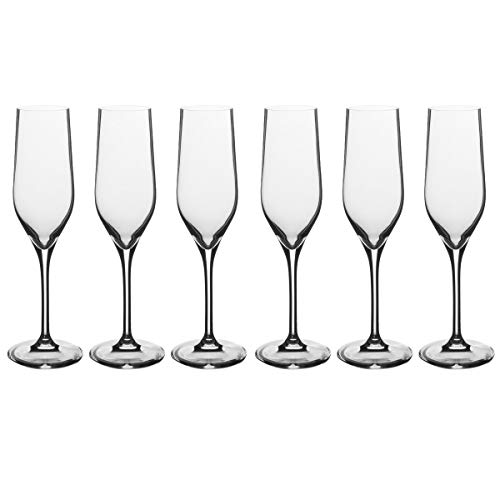 - 6pcs Glasses Champagne Flutes 6.25oz Glass Set German Crystal Drinkware