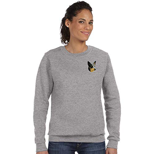 Embroidered Sweatshirt Dog Cattle - Cherrybrook Breed Embroidered Anvil Ladies Crew Sweatshirt - Small - Heather Gray - Australian Cattle Dog