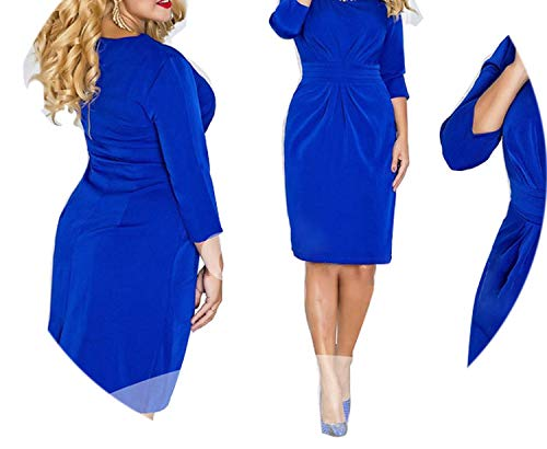 Women Dress Vestidos Maxi Oversized O Neck Knee Length Three Quarter Pencil Dress,Blue,6XL