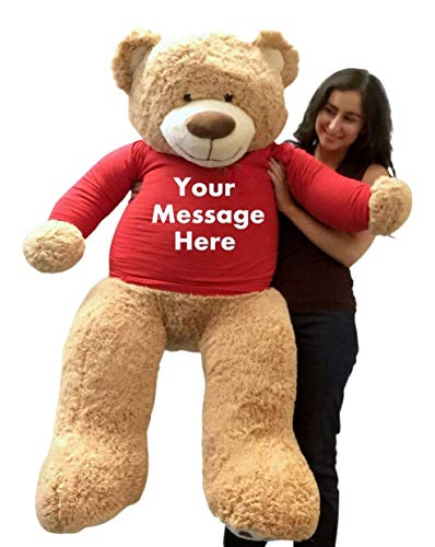 Big Plush 5ft Bear Dressed in Personalized Red Tshirt, Giant 5 Foot Teddy Bear Premium Soft, Customized with Your Message, Unique Impressive Gift for Birthday, Love or Any Event, Hand-Stuffed in USA