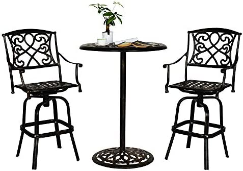 Sundale Outdoor 3 Pcs Counter Height Swivel Bar Stool and Bar Table Set All Weather Patio Furniture Bistro Set with Heavy Duty Aluminum Frame, Bronze