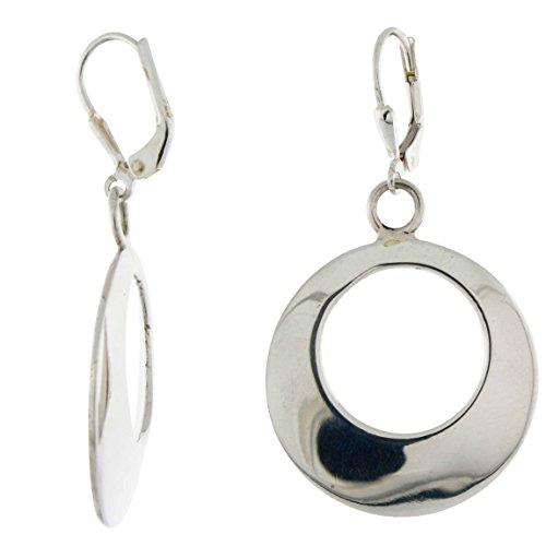 Sterling Silver Handmade Cut-out Leverback Earrings, Round Disc