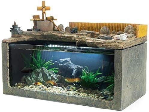 水槽の装飾デスク水族館テーブル水槽のインテリア装飾加湿自然の風景家の装飾屋内噴水(サイズ:48x28x33cm)
