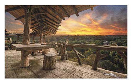 Lunarable Scenery Doormat, Forest Trees Landscape from Wooden House Tables Sunset with Clouds Photo Print, Decorative Polyester Floor Mat with Non-Skid Backing, 30 W X 18 L inches, Multicolor