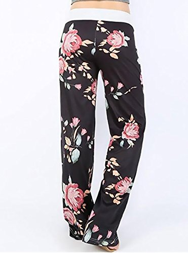Pantaloni Di Casual Gamba Alta Pantaloni Vita Donna Larghi Bloomers Floreale Pantaloni Stampa Yoga Coulisse Nero Trousers Eleganti Etnico Lunghi Harem pZx6xT
