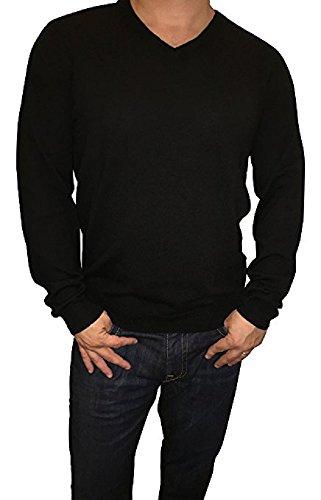 Calvin Klein Lifestyle Extra Fine Merino Wool V-Neck Sweater (Black, Medium)