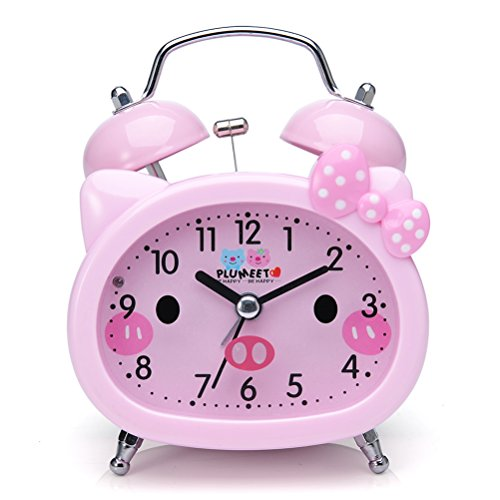 (Plumeet Twin Bell Alarm Clock for Kids, Silent Non-Ticking Cartoon Quartz Loud Alarm Clock for Girls, Cute, Handheld Sized, Backlight, Battery Operated (Pink))
