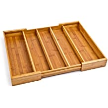 Seville Classics Bamboo Expandable 5 Large Compartment Adjustable Cutlery Drawer Tray Organizer