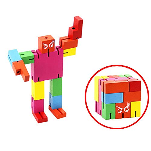 Brain Teaser for Adults and Kids, Wooden Cube Robot Intelligence Puzzle Toys, Desk Decoration Phone Stand -