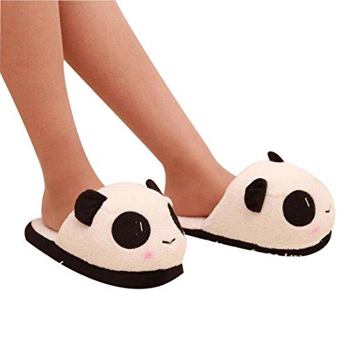 Voberry® Femmes Hiver Chaud Mou Mignon En Peluche Anti-dérapant Panda Pantoufles Chaussures Intérieur Maison