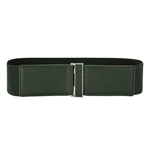 GRACE KARIN Women's PU Leather Elastic Waist Belt with Buckle (Dark Green 466-6), Large