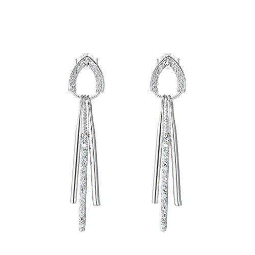 SILVERAGE Sterling Silver Tassel Drop Dangle Earrings (Gold Teardrop Heart)
