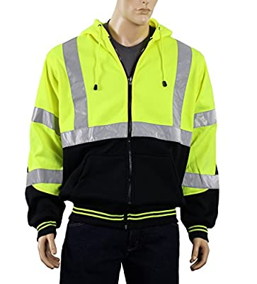 Safety Depot Class 3 Heavy Duty Refletive Two Tone Hooded Soft Sweatshirt with Handwarmer pockets and Zipper Closure SS25 Lime