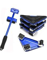 Conjunto de 5 peças de rolo móvel para móveis, ferramenta de elevação de móveis, alavanca de elevação pesada e 4 almofadas deslizantes, para pisos duros, fácil movimento de grandes polia de móveis