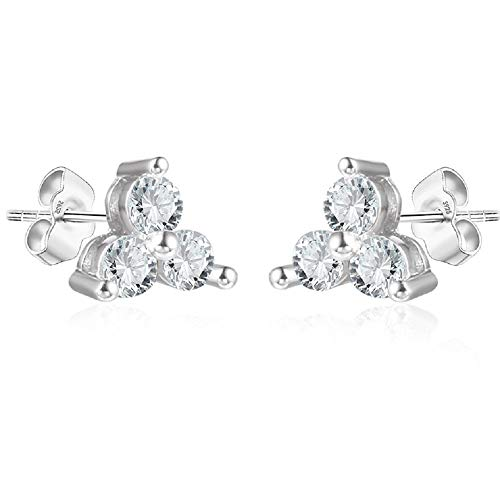 Womens Trio CZ Studs in Sterling Silver White Gold Finish