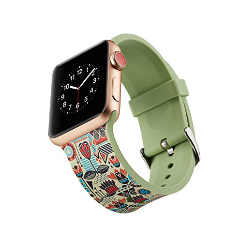 Fine Compatible for Apple Watch iWatch Band 4/3/2/1 Watch Band,Small Soft Silicone Printing Floral Replacement Watch Band Strap for Apple Watch 38mm/40mm (M)