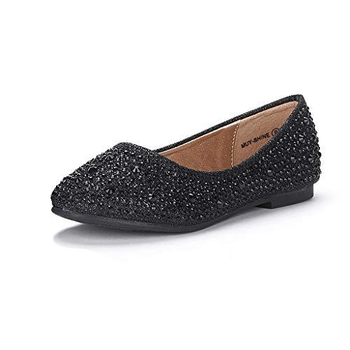 Black Girl For Halloween (DREAM PAIRS Little Kid Muy-Shine Black Glitter Girl's Mary Jane Ballerina Flat Shoes - 2 M US Little)
