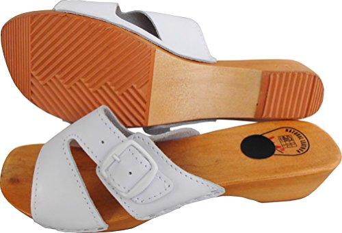 HOLZ (e) CLOGS - Pantolette Gr.36, 37, 38, 39, 40, 41, WEISS, Echt Leder (Made in Poland.23-03.4-81)