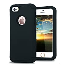 iPhone 5/5s/SE Case, TENKER 3in1 Hybrid Full Body Impact Resistant Shockproof Soft Silicone Bumper Case Cover for iPhone 5/5s/SE (Black)