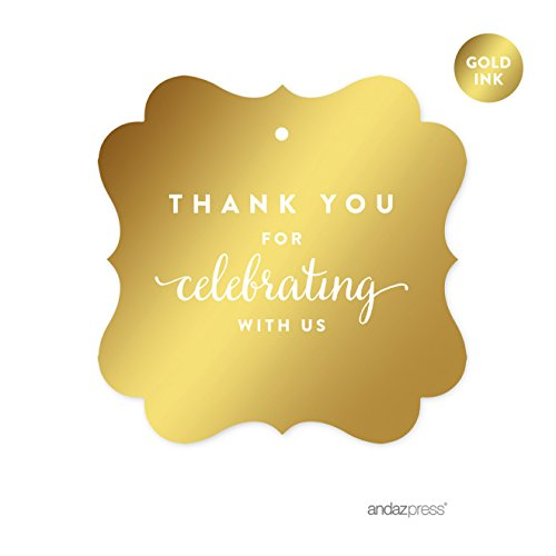 Andaz Press Fancy Frame Square Favor Gift Tags, Metallic Gold Ink, Thank You for Celebrating With Us, - For Gift You The Thank
