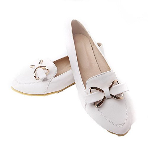 VogueZone009 Women's PU Pointed Closed Toe No-Heel Pull-On Solid Pumps-Shoes White 3A2n2nYOU