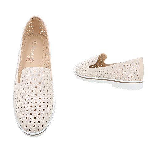 on J101f Beige Mujer Ancho Ital design Zapatos Para Tacón Slip Mocasines W4RxYSqB