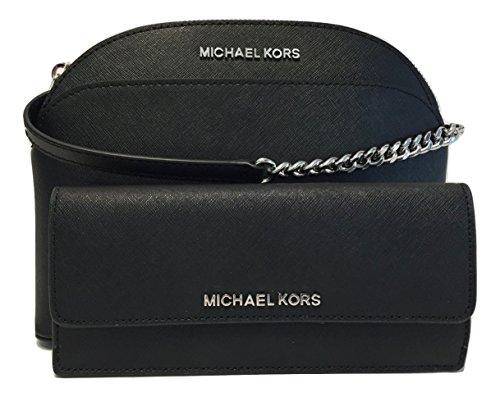MICHAEL Michael Kors Emmy MD Crossbody bundle with Michael Kors Jet Set Travel Flat Wallet (Black) by Michael Kors