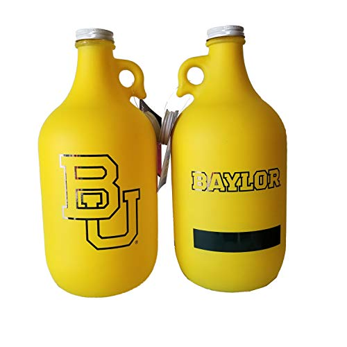 - NCAA Collegiate 64 oz Glass Jug Growler Frost/Matte Finish with Optional Coin Bank Slotted Lid (Baylor Bears 2)