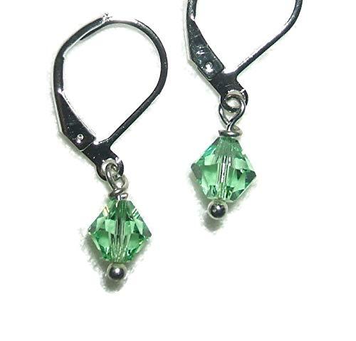 PERIDOT GREEN EARRINGS Swarovki Elements Crystal Silver Plt Leverbacks Drop Dangle