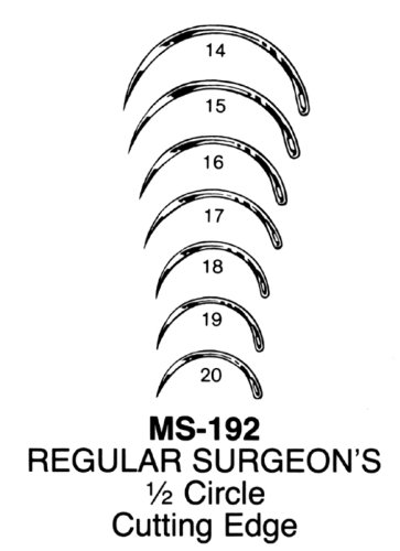 - Miltex MS192-17 Regular Surgeon's Needles, Cutting Edge, 1/2 Circle (Pack of 12)