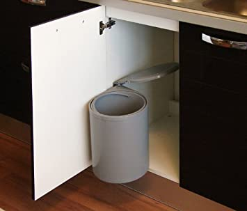 Einbau Abfallsammler, Facile grau, 12 Liter, Küchen Mülleimer, rund,  schwenkbar, Abfalleimer, links und rechts montierbar, ab 40cm Schrankbreite