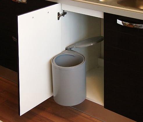Einbau Abfallsammler, Facile Grau, 12 Liter, Küchen Mülleimer