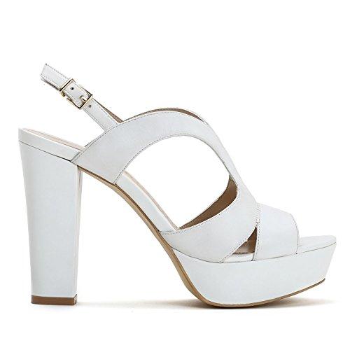 ALESYA by Scarpe&Scarpe - Sandalias altas con bandas, de Piel, con Tacones 11 cm Blanco
