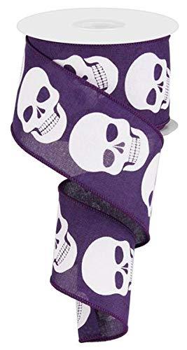 Skulls Canvas Wired Edge Ribbon, 10 Yards (Purple) ()