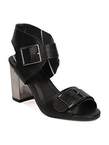Heart.thentic Leatherette Peep Toe Buckled Mirror Metallic Block Heel Sandal GC34 - Black (Size: 9.0)