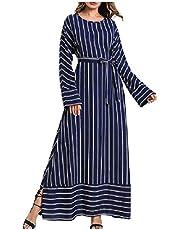 فستان نسائي طويل طويل طويل الأكمام من DressU بشريط فضفاض