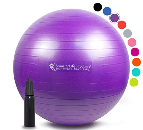 Exercise Ball for Yoga, Balance, Stability from SmarterLife - Fitness, Pilates, Birthing, Therapy, Office Ball Chair, Classroom Flexible Seating - Anti Burst, Non Slip + Workout Guide (Purple, 45cm) ()