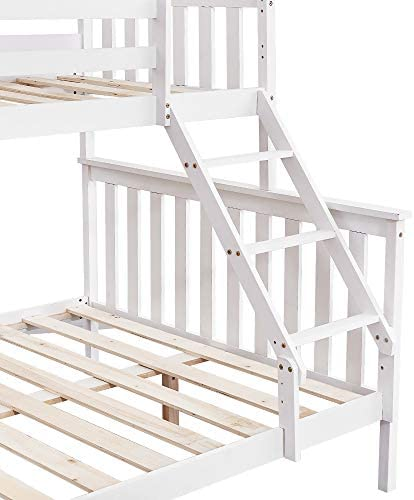 Panana Triple Sleeper Bunk Beds, Single Top Double base bed, Solid Wood Frame, Wooden Bed Frame