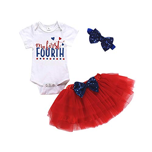 My 1st 4th of July Newborn Baby Girl Outfit Short Sleeve Print Romper Tutu Dress with Headband 3Pcs Independence Day Set (6-12 Months, Style 2)]()