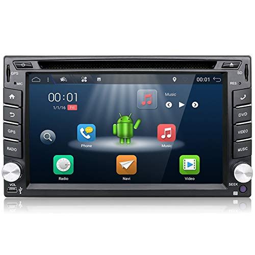 Double Din Head Unit,In Dash GPS Navigation with Rear Camera,YUNTX Car Stereo 2GB 16GB Android 7.1 Radio with 6.2 Inch Multi-Touch Screen,Car Audio,CD Player