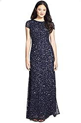 Gunmetal Colour Short-Sleeve All Over Sequin Gown