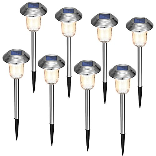 Oak Leaf LED Solar Lights Outdoor Landscape Light,8 Lumens, Stripe Light Effect,8-Pack, Stainless Steel -