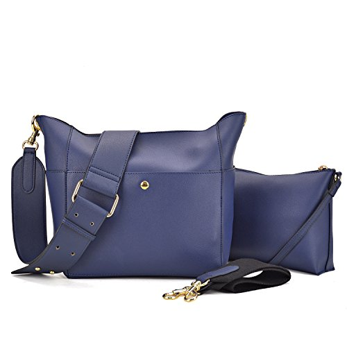 (Dasein Women Satchel Hobos Top Handle Totes Multi Pockets Shoulder Purses Soft Leather Crossbody Handbags Roomy Bucket Bags (Navy Blue))