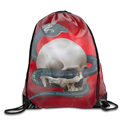 (Human Skull Entwined By Snake Drawstring Travel Shoes Dust Storage Bags)