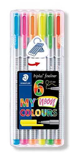 Triplus coloring pens Neon ballpoint pens, 0.3 mm, metal Clad, 6 point / PK, various colors ()